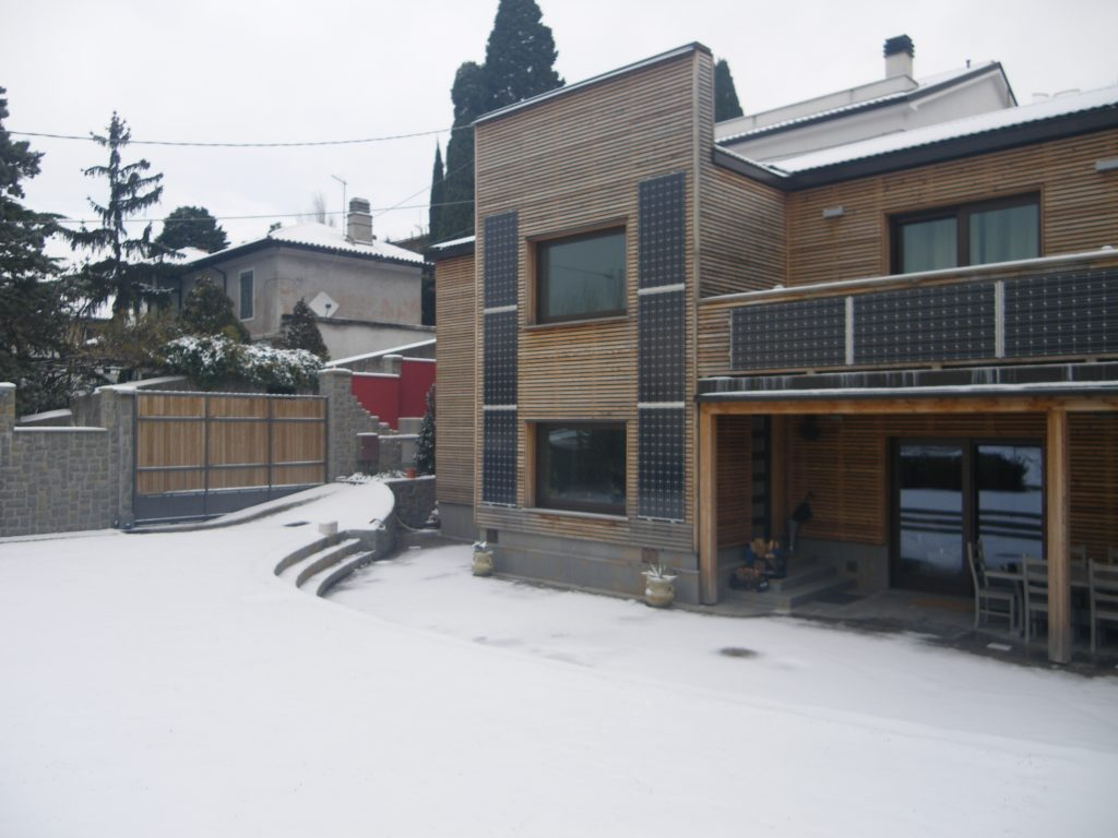 Larch wood facade on residential building
