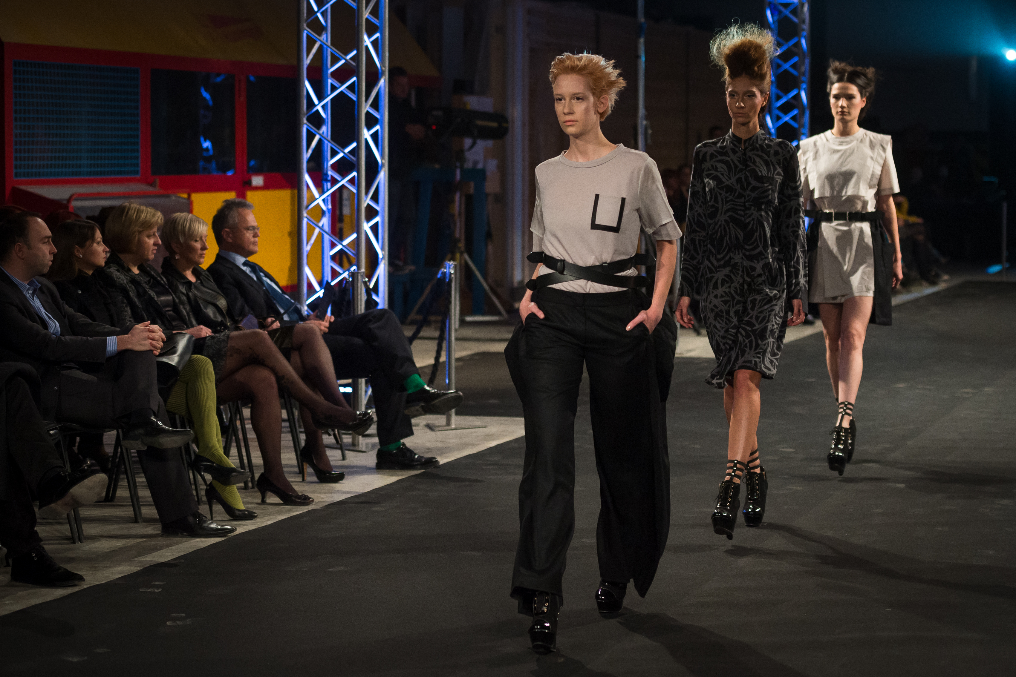 Fashion show in the production hall of Riko Hiše